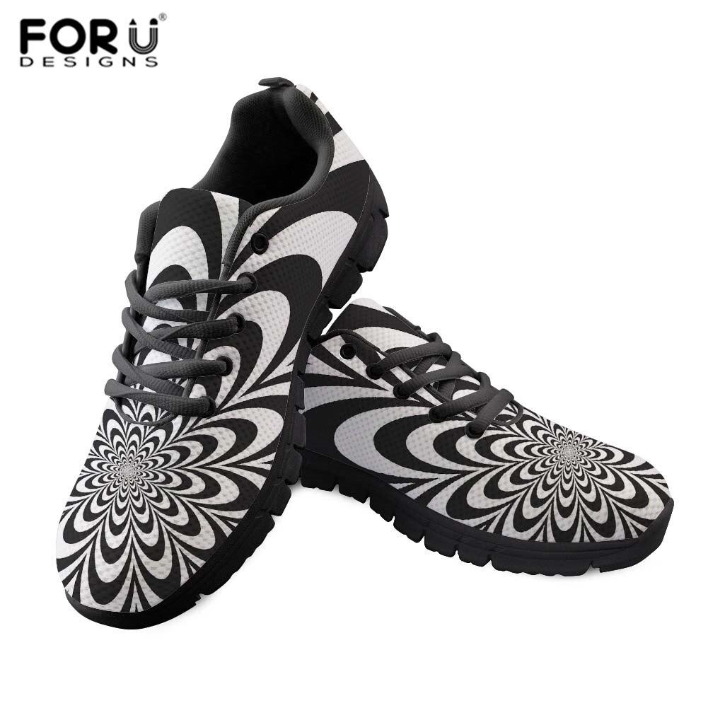 FORUDESIGNS adultes baskets d'été chaussures pour femme mode noir géométrique fleur chaussures respirant maille femme chaussures