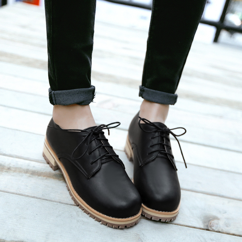 c1fb33ad3d74 2015 NewMartin shoes Women Solid Lace Up Loafers Rubber Shoes For Women  Trendy Round Toe Casual Flat Shoes-in Women's Flats from Shoes on  Aliexpress.com ...