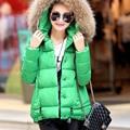 Plus Size 2016 Inverno Nova Moda Chegada Sólida Chapéu Morno da Pele Do Falso Macio Belo Casaco Mulheres Para Baixo Casacos