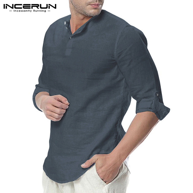 HTB14D7OaeH2gK0jSZJnq6yT1FXaA - INCERUN Fashion Men Shirt Long Sleeve Cotton Solid Casual Basic Shirt Men Tops