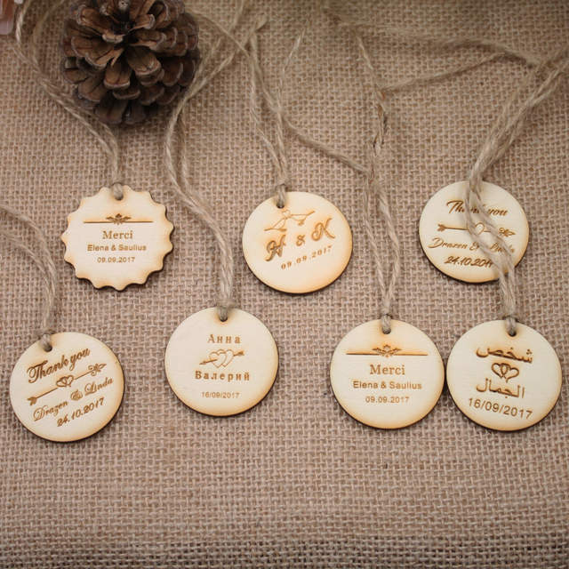 placeholder Personalized custom Engraved wedding name and date Round Circle Hang Tags Rustic wooden Wedding Gift Tags