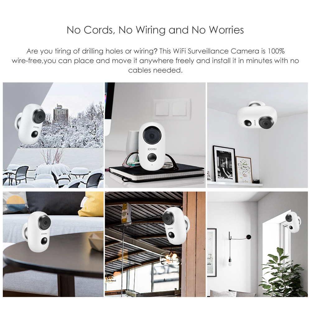 Image 5 - ZOSI WiFi Camera Rechargeable Battery Powered 720P/1080P Full HD Outdoor Indoor  IP65 Weatherproof Security Wireless IP Camera-in Surveillance Cameras from Security & Protection