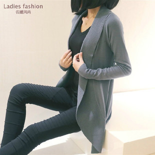 2016 Мода Новый Женский Длинный Кардиган верхняя одежда осень плюс размер куртки трикотажные женщина свитер пальто Серый, красный, черный, белый S, M, L, XL