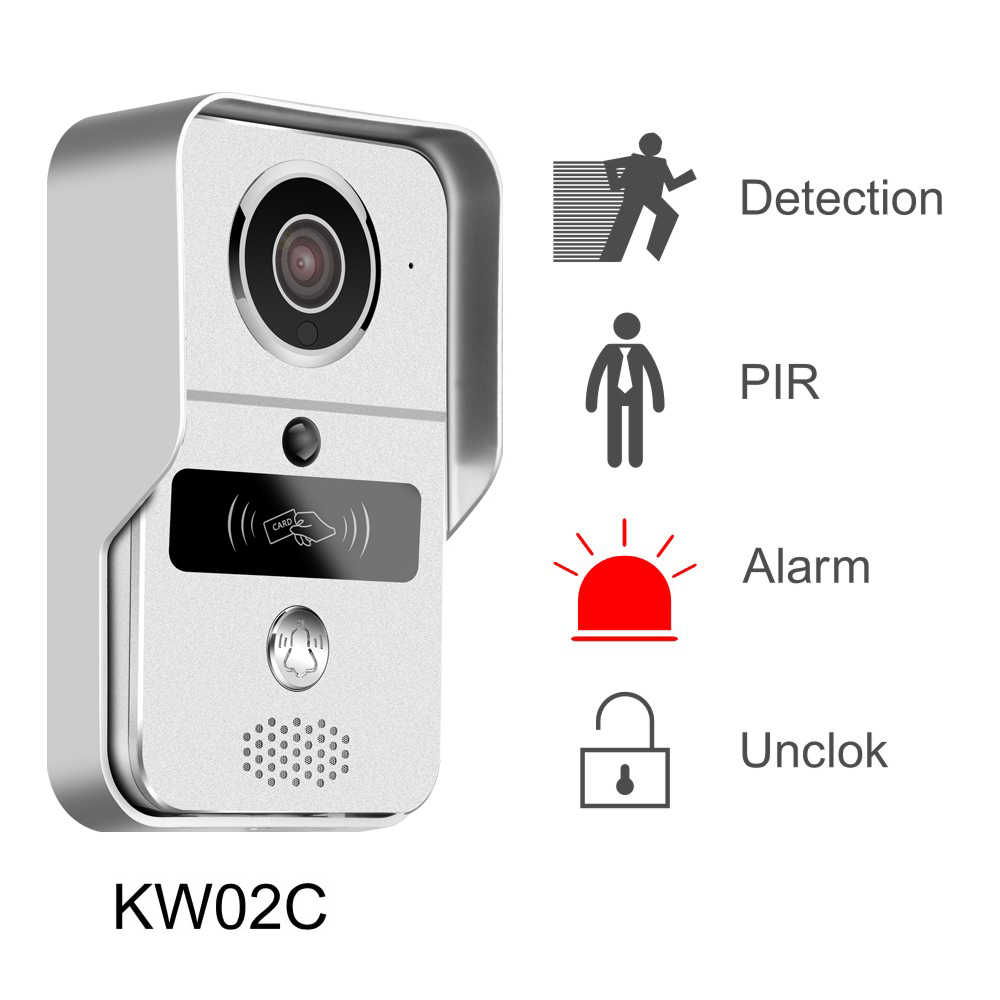 2018 KONX KW02C H 264 Smart Video Doorbell with RFID Card Duplex  Intercom,Supports Micro SD Card,IR Night Vision for Android/IOS