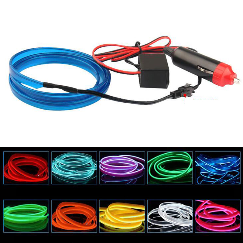 2m el wire flexible led neon strip cold light strip rope tape 12v car interior decor fluorescent. Black Bedroom Furniture Sets. Home Design Ideas