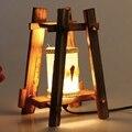 Cottage vintage Creative Handmade Original Wood Led Table Lamp for Coffee Bar Restaurant Bedroom Decor Night Light 1750