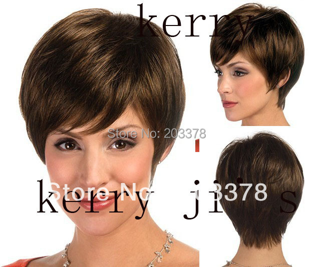 Free shipping Top Quality Natural Short  Brown Synthetic full Wig Free Shipping