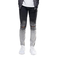 Ripped Knee Men Jeans Fashion Hip Hop Urban Men Motorcycle Distressing Biker Slim Skinny Jeans ET0268