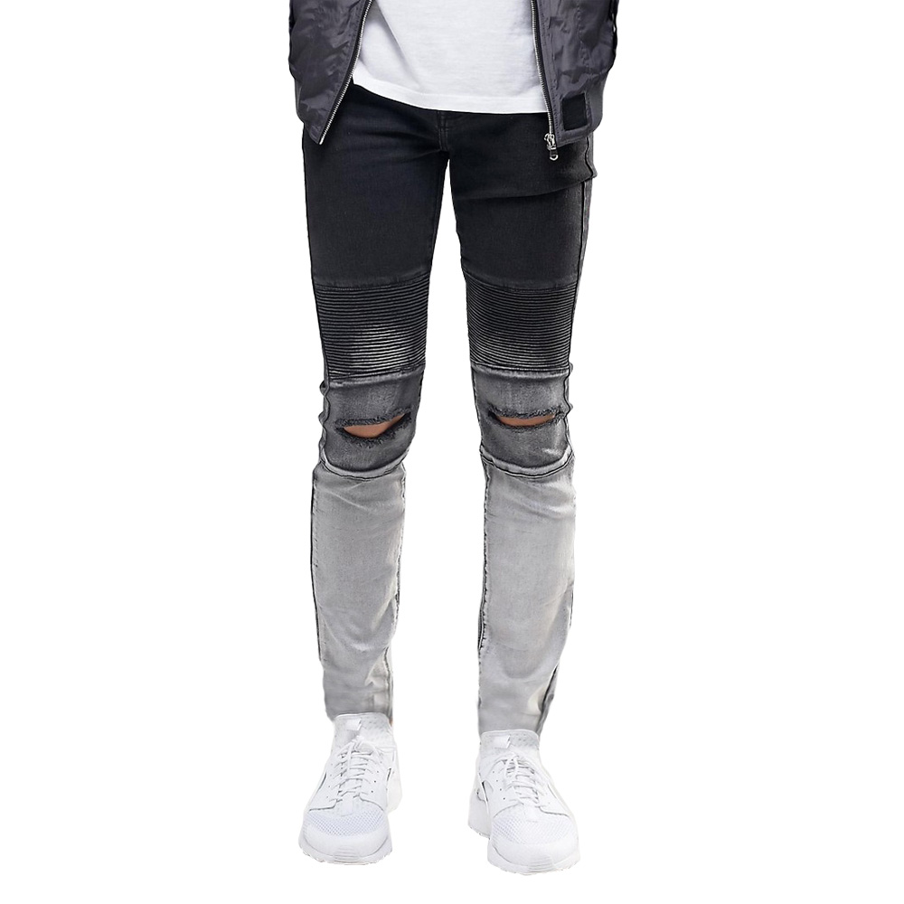 Ripped Knee Men Jeans Fashion Hip Hop Urban Men Motorcycle Distressing Biker Slim Skinny Jeans  eT0268