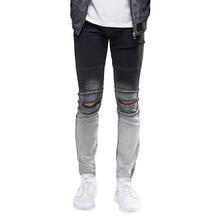Разорвал колено мужские джинсы мода hip hop городских мужчин мотоцикла тревогу байкер тонкий узкие джинсы et0268