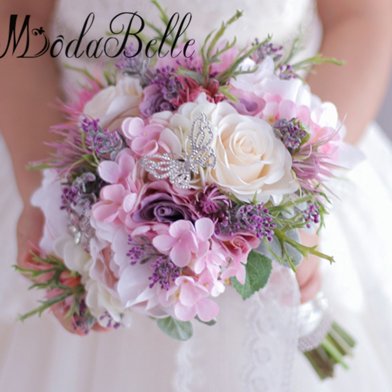 Pc Tisch Klein 2017 Artificial Flowers Bridal Bouquet Purple Pink