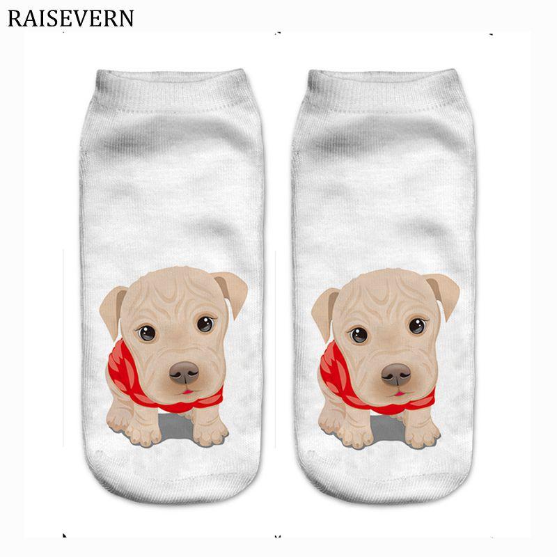 Men Socks Cute Dog Cotton Harajuku 3D Print Men Kawaii Ankle Calcetines Femme New Mujer Summer Funny Socks for Men White