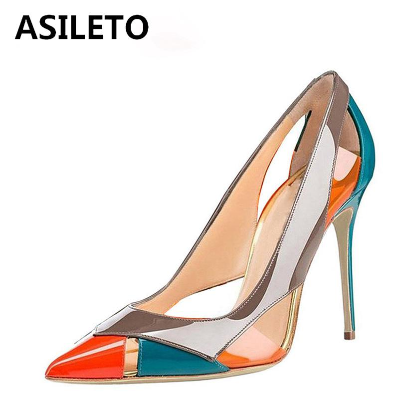 ASILETO catwalk Shoes women Pumps ultra high heels Patent leather pointed mixed color party wedding stilettos