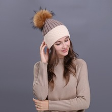 Big Fur Pom Poms Winter Hats For Women Knitted Beanies Cap Brand Real Fox Fur Pom Ball Hat Cap Girl 's Hat Thicken Female Cap