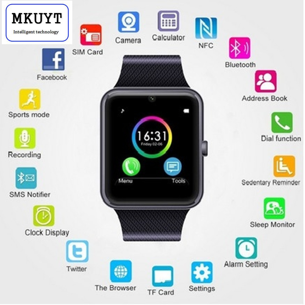 MKUYT GT08 Bluetooth Sport font b SmartWatch b font with Camera health monitoring exercise pedometer GSM