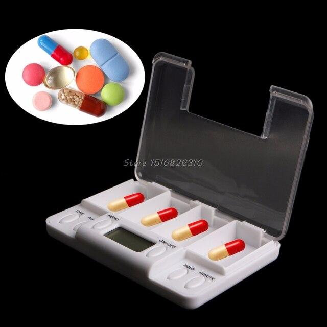 Pillen Erinnerung Medizin Alarm Elektronische Timer Box Fall Veranstalter 4 Grid Heiße # Y207E # Beste Verkauf