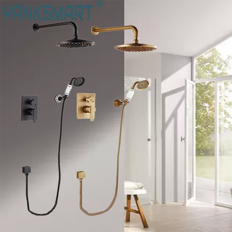 Bathroom ORB And Antique Brass Bathtub Wall Mounted Ceramics Chrome White Hand Shower Bathroom Basin Sink Brass Tap Mixer Faucet