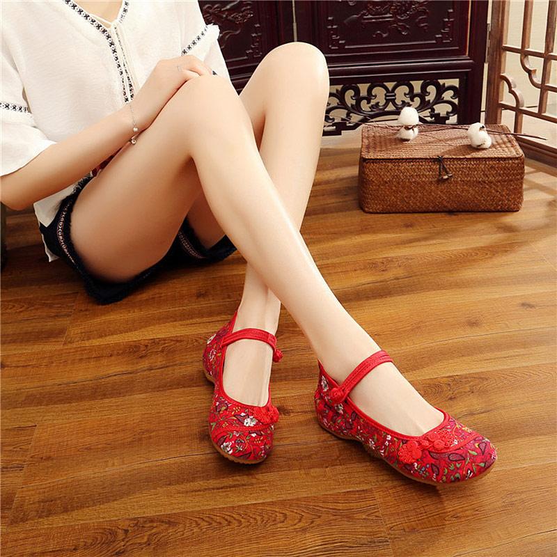 Veowalk Chinese Ruyi Knot Women Vintage Floral Canvas Ballet Flats Elegant Ladies Comfort Ballerina Shoes Woman Baleriny Shoes 4