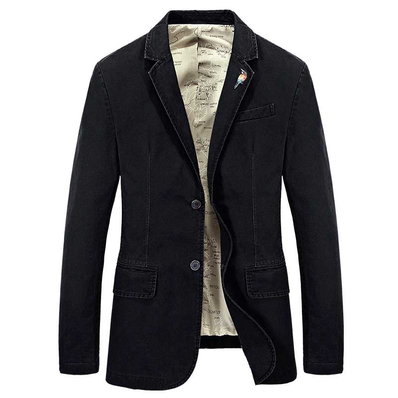 New Fashion Jacket Suit For Men Cotton Denim Suit Blazer Embroidery Bird Brooch Can Be Disassembled Male Clothes Plus Size 4XL