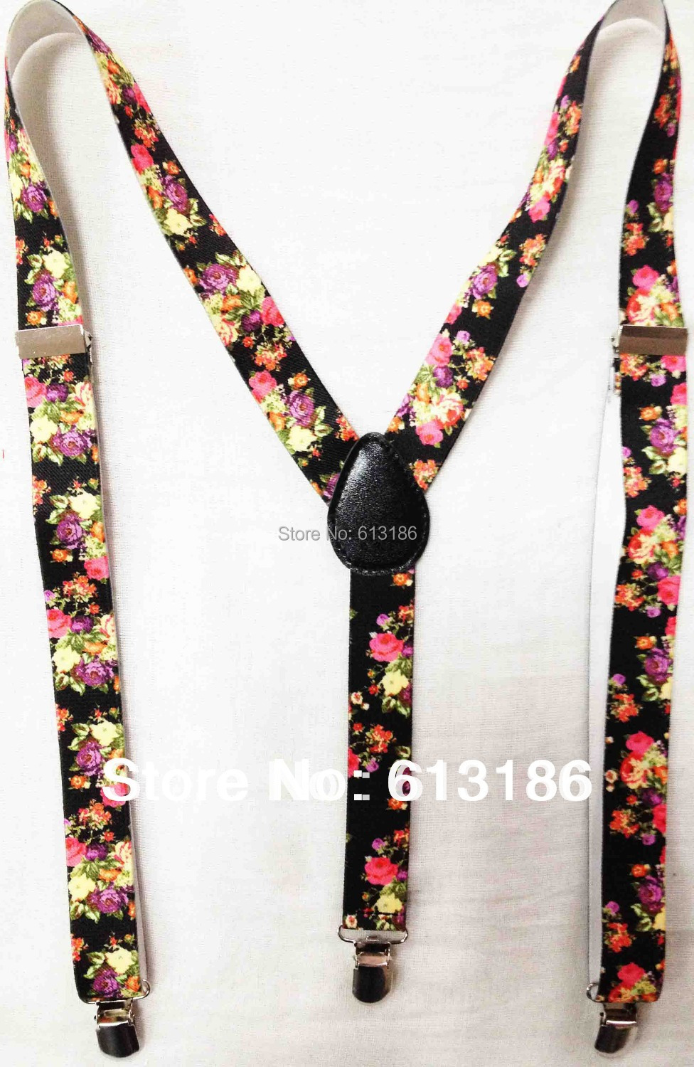 Free Shipping 2018 Hot Sales New Womens /Ladies Adjustable Clip-on 2.5 CM Wide Floral/Flower Printed Suspender/Braces