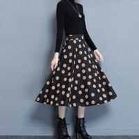 Mujer de impresión más el tamaño de Cachemira gruesa larga falda femenina 2017 el otoño y el invierno de Gran tamaño de Una Línea de falda Office lady faldas M-4XL