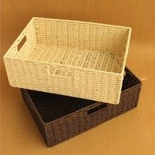 Соломы корзина хранения ящик для хранения крышка ящик для хранения прямоугольник большой размер дома органайзера