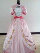 Por Encargo Del Traje de Holloween Mujeres Cosplay Super Mario Vestido Rosa Melocotón Princesa Traje