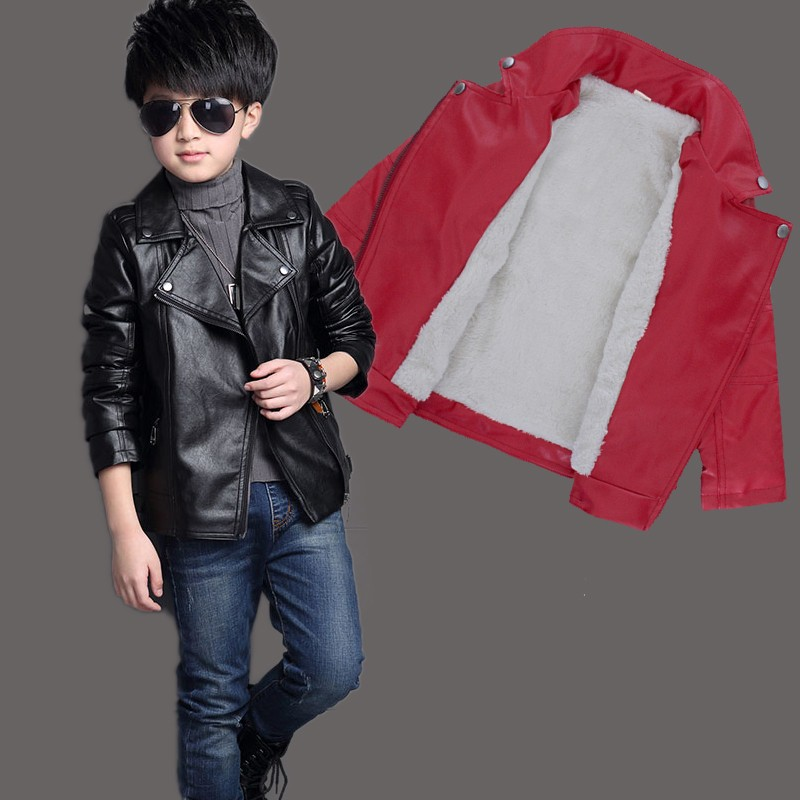Image 2 - Brand Fashion Winter Child Coat Waterproof Heavyweight Baby Boys Girls Leather Jackets Children Outfits For Age 3 14 Years OldJackets & Coats   -