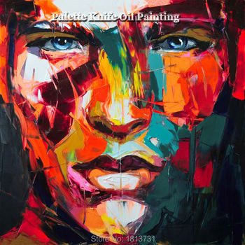 Hand painted Francoise Nielly Palette knife portrait Face Oil painting Character figure canva wall Art picture13-37