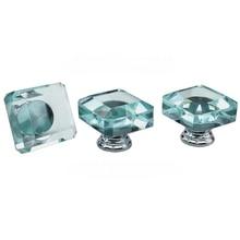 8PCS  35mm Lake Blue Transparent Glass Furniture Drawer Crystal Glass Wardrobe Handle Cabinet Handle Shower Room Handle