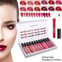 12pcs/set Matte Lip Gloss Long Lasting Liquid Lipstick Tint Pigment Lipgloss Makeup Tool Lips Cosmetic Lip Gloss Set