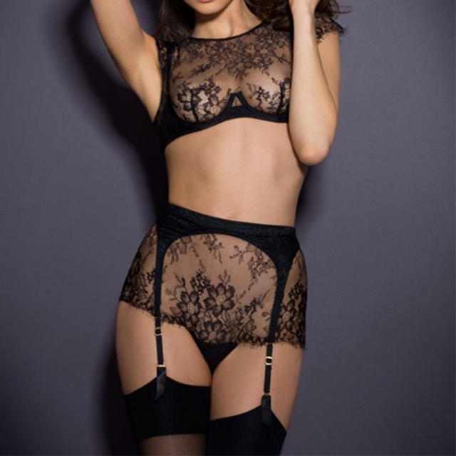 Lace halter sexy bra garter set high quality transparent