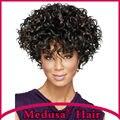 Медуза продукты волос: Синтетические пастельные парики для женщин Современные шаг стили Короткие вьющиеся Смешивать цвета парик с челкой SW0120A