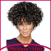 Medusa hair products: Synthetic pastel wigs for women Modern shag styles Short curly Mix color wig with bangs SW0120A