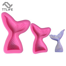 TTLIFE Mermaid Tail Silicone Mold Fondant Cake Decorating DIY Tool Pastry Chocolate Cupcake Biscuit Baking Mould 2019 New Arrive
