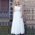 Women Plus Size Wedding Dresses Cap Sleeve Lace Chiffon Wedding Dress Back Lace-up Fashion Cheap Bridal Gowns Vestido De Noiva