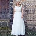 Mulheres Plus Size Vestidos de Casamento da Luva do Tampão Do Laço vestido de Noiva Chiffon Vestido de Volta Lace-up Moda Baratos Vestidos de Noiva Vestido De Noiva