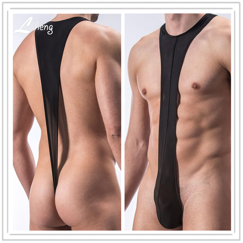 Men's Strap Siamese Underwears Male Sexy Translucent Thongs Shorts Men Shapers Thongs Man Body Shaper Bodysuit Thongs