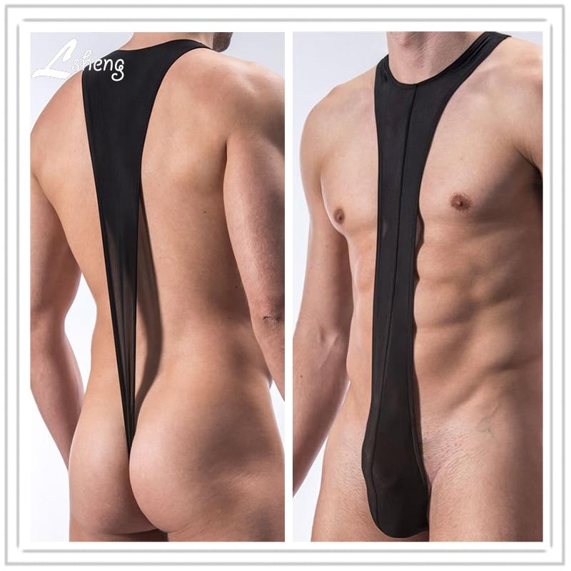 Men's Strap Siamese Underwears Male Sexy Translucent Thongs Shorts Men Shapers Thongs Man Body Shaper Bodysuit Thongs