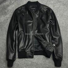 Factory men jacket male baseball uniform genuine leather motorcycle le