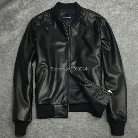 Factory men jacket male baseball uniform genuine leather motorcycle leather clothing slim design sheepskin short outerwear Pakistan