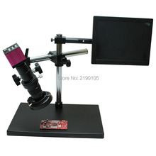 Buy online 1080P HDMI HD USB Digital Industry Video Microscope Camera Set + Big Boom Stereo Table Stand + C-MOUNT Lens+ LED+8″ HD Monitor
