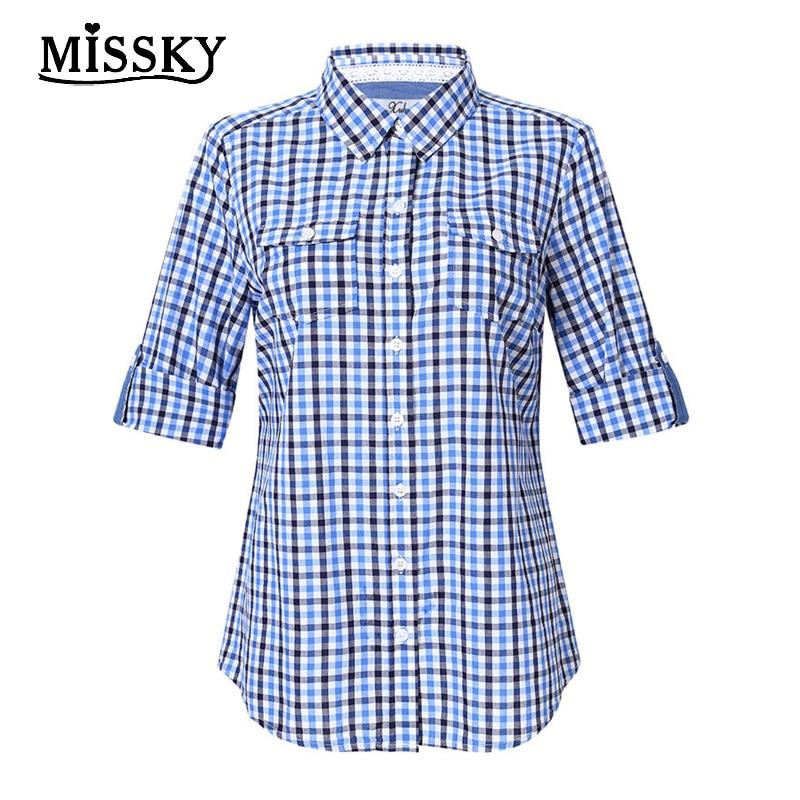 MISSKY 2018 Women's Summer Autumn Blue Plaid Fashion Shirt Female Shirts Irregular Length Half Sleeve Loose For Ladies ZK50