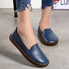 Shoes Loafers Moccasins Flats Women Slip On Female Genuine-Leather Autumn Plus-Size 35-43