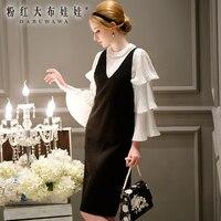 Kadın örme elbise sonbahar büyük boyutları v yaka diz boyu moda rahat siyah kazak elbiseler kadın toptan