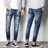 Summer New Pattern Thin Section European skinny Jeans men Man Korean Trend Self-cultivation Bound Feet All-match Pants