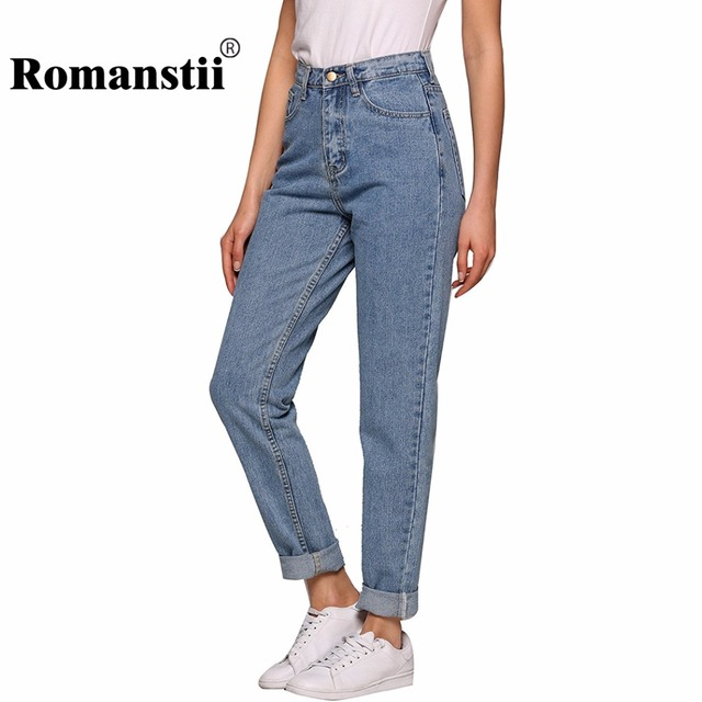 279f7400bf32 Romanstii High Waist Jeans Women Autumn Winter Vintage Cotton Distressed  Washed Skinny Harem Boyfriend Jeans Female Denim Pants