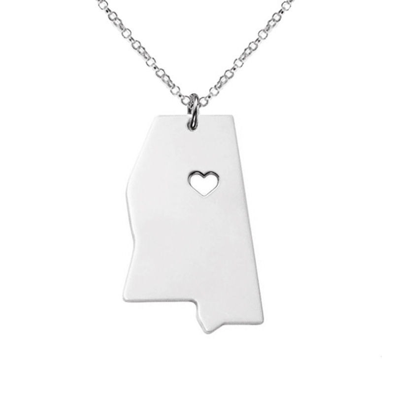 Mississippi Necklace 316 Stainless Steel American State With Hollow Heart Map Necklace Statement Pendant Jewelry 5pcs