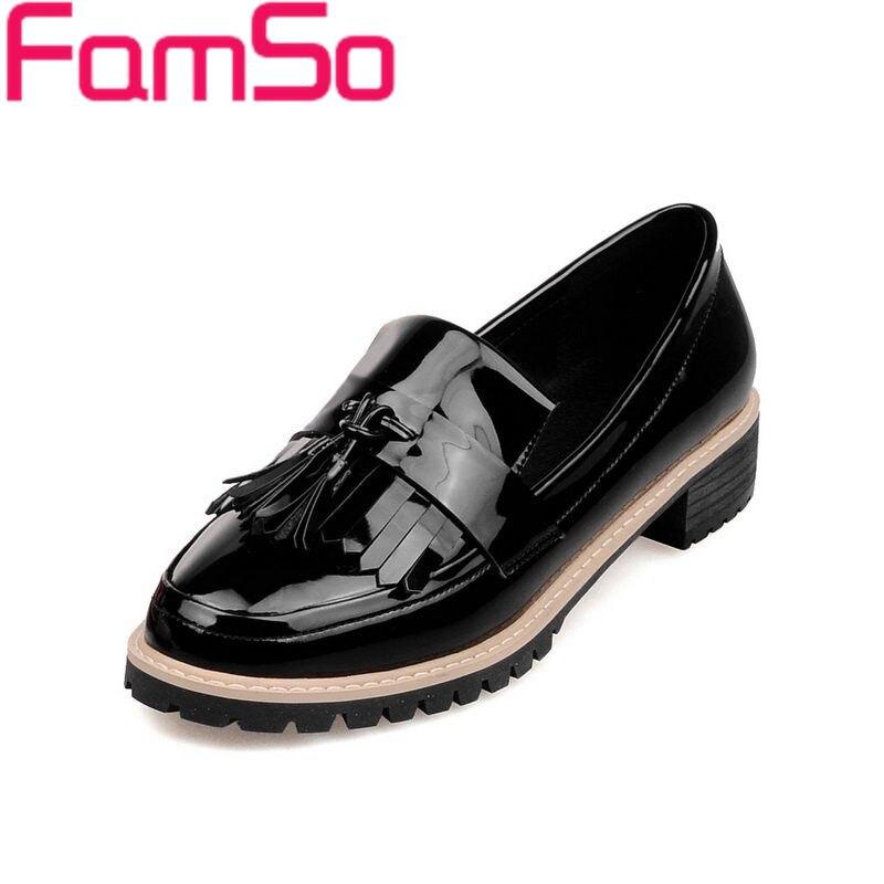 Plus Size34 43 2016 New Fashion font b Women b font Single Shoes Tassel black Spring