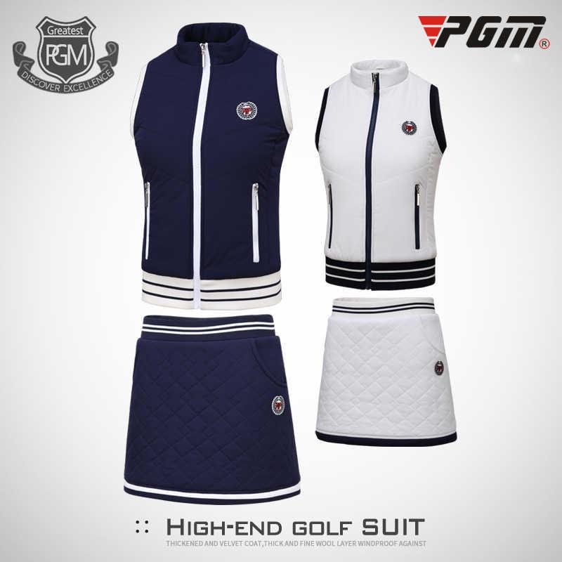 Pgm kobiety Golf zagęścić ciepły spódnica garnitur bezrękawnik Ves + aksamitne szorty spódnica panie miękkie Golf tenis Wear D0492